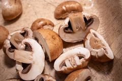 Sliced brown champignon mushrooms. In a ceramic bowl royalty free stock photos