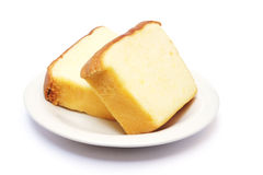Sliced butter cake on plate Stock Image
