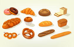 Sliced butterbrot bread and baguette, cake. Set of bread food, sliced bricks of butterbrot bakery, anadama and baton or baguette, kifli and challah, bagel and stock illustration