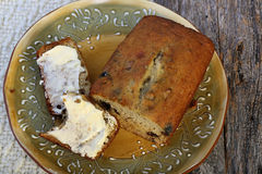 Sliced and buttered banana bread Stock Image