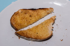 Sliced buttered toast. On a white plate Royalty Free Stock Photography