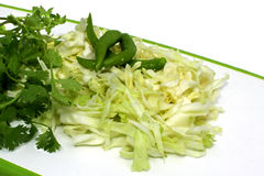 Sliced cabbage, green chillis with coriender leaves Royalty Free Stock Image