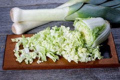 Sliced cabbage and shallots on a table Stock Image