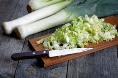 Sliced cabbage and shallots on a table Royalty Free Stock Photography