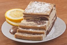 Sliced cake with orange Royalty Free Stock Photography