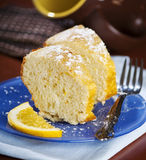 Sliced cake with orange Stock Photo