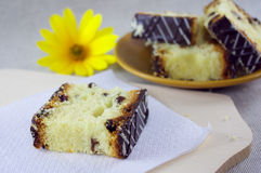Sliced cake with raisins Royalty Free Stock Photography