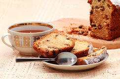 Sliced cake with raisins Royalty Free Stock Images