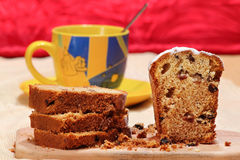 Sliced cake with raisins Royalty Free Stock Photos