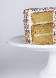 A sliced cake with sprinkles Stock Images