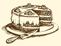 Sliced cake. Vector drawing Stock Photography