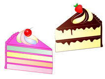Sliced Cakes Vector Illustration Royalty Free Stock Photos