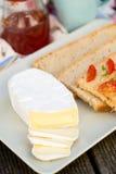 Sliced camembert cheese Stock Photo