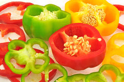 Sliced capsicums Royalty Free Stock Image