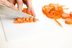 Sliced carrot. Orange carrot been slided and diced in a kitchen royalty free stock photos