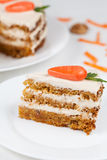 Sliced carrot cake with cream on white plate Royalty Free Stock Photos