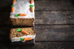 Served homemade carrot cake Royalty Free Stock Photo