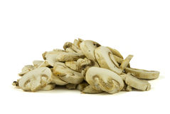 Sliced champignon mushrooms Stock Image