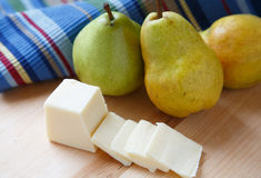 Sliced Cheese and Bartlett Pears Stock Image