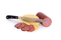 Sliced Cheese And Salami Stock Photo
