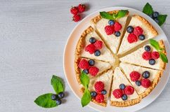 Sliced cheesecake with fresh berries on the white plate - healthy organic dessert. Classic New York cheese cake. Decorated with blueberries, raspberries and royalty free stock image
