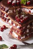 Sliced cherry cake with chocolate and cream close-up Stock Photography