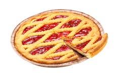 Sliced Cherry Pie stock photo