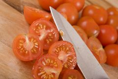 Sliced Cherry Tomatoes Royalty Free Stock Photography