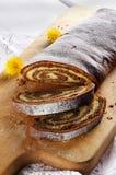 Sliced chestnut cake Stock Images