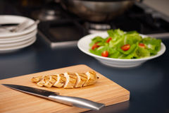 Sliced chicken breast as salad ingredient Royalty Free Stock Photos