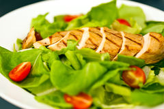 Sliced chicken breast as salad ingredient stock images