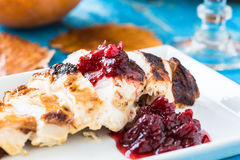 Sliced chicken breast with cranberry sauce Stock Images