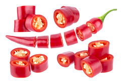 Sliced chili pepper. Cut red hot chili pepper isolated on white background. With clipping path Royalty Free Stock Photography