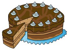 Sliced chocolate cake. Vector illustration Stock Photography