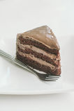 A sliced of chocolate cake o. N white dish and background Stock Photos