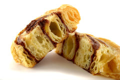 Sliced Chocolate Danish Pastry Royalty Free Stock Photos