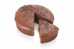 Sliced chocolate fudge cake Stock Image