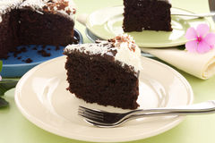 Sliced Chocolate Mud Cake Stock Photos