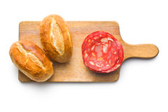 Sliced chorizo salami and buns Royalty Free Stock Photos