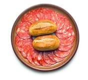 Sliced chorizo salami Royalty Free Stock Images