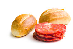 Sliced chorizo salami and buns Royalty Free Stock Photo