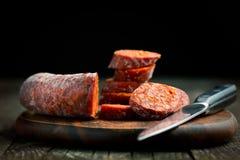 Sliced chorizo sausage Stock Photography