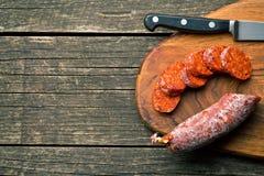 Sliced chorizo sausage Royalty Free Stock Image