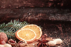 Sliced Christmas Orange on Wooden Table Stock Photography