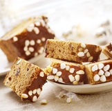 Sliced christmas raisin cake Royalty Free Stock Images