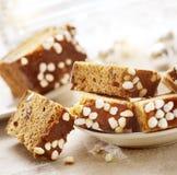 Sliced christmas raisin cake Royalty Free Stock Images