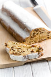 Sliced christmas stollen Stock Images
