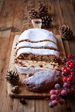 Sliced Christmas stollen Stock Image