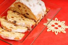 Sliced Christmas stollen royalty free stock photos