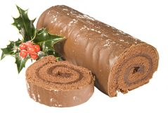 Sliced Christmas Yule log Royalty Free Stock Photos
